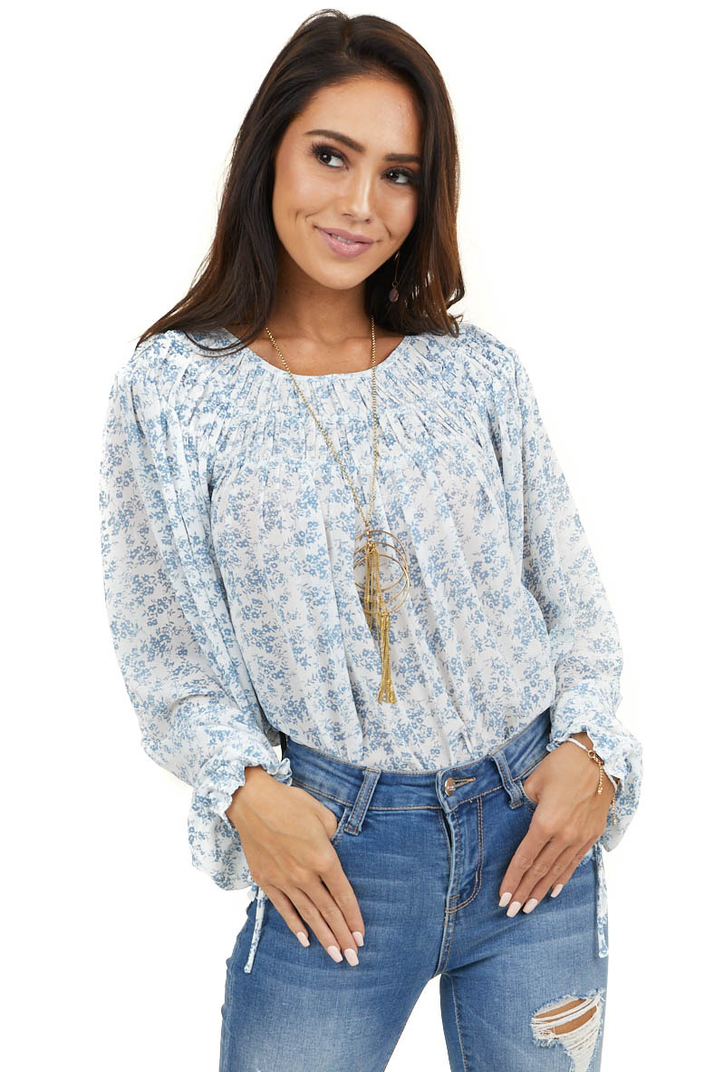 White and Dusty Blue Floral Print Peasant Top with Ties