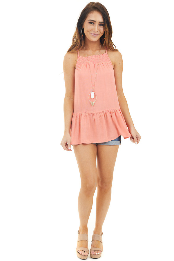 Coral Drop Waist Top with Smocked Neckline and Keyhole Back