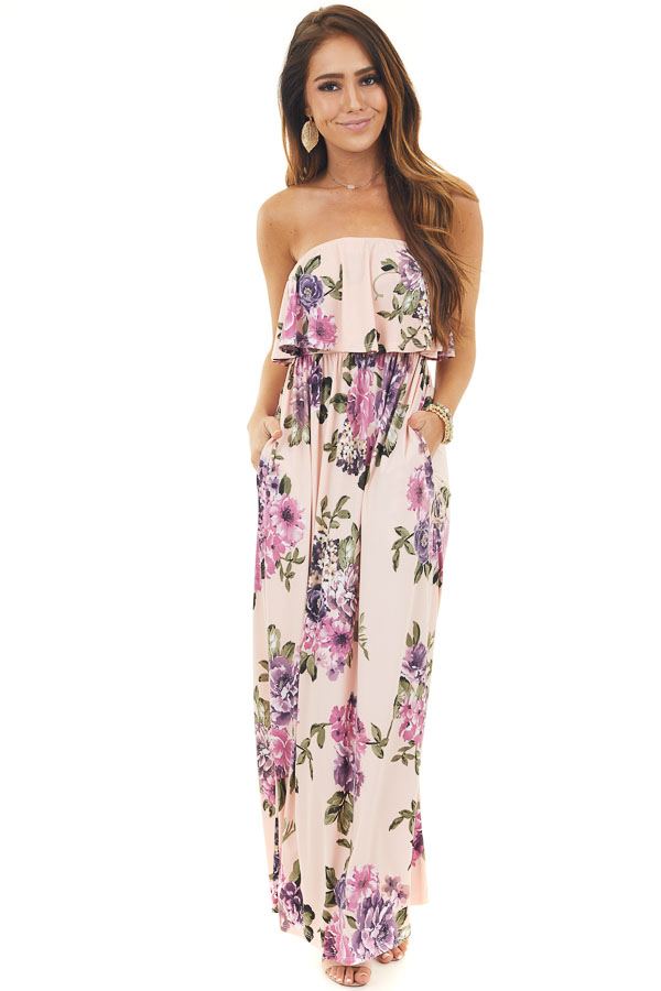 Blush Floral Print Strapless Maxi Dress with Bust Overlay