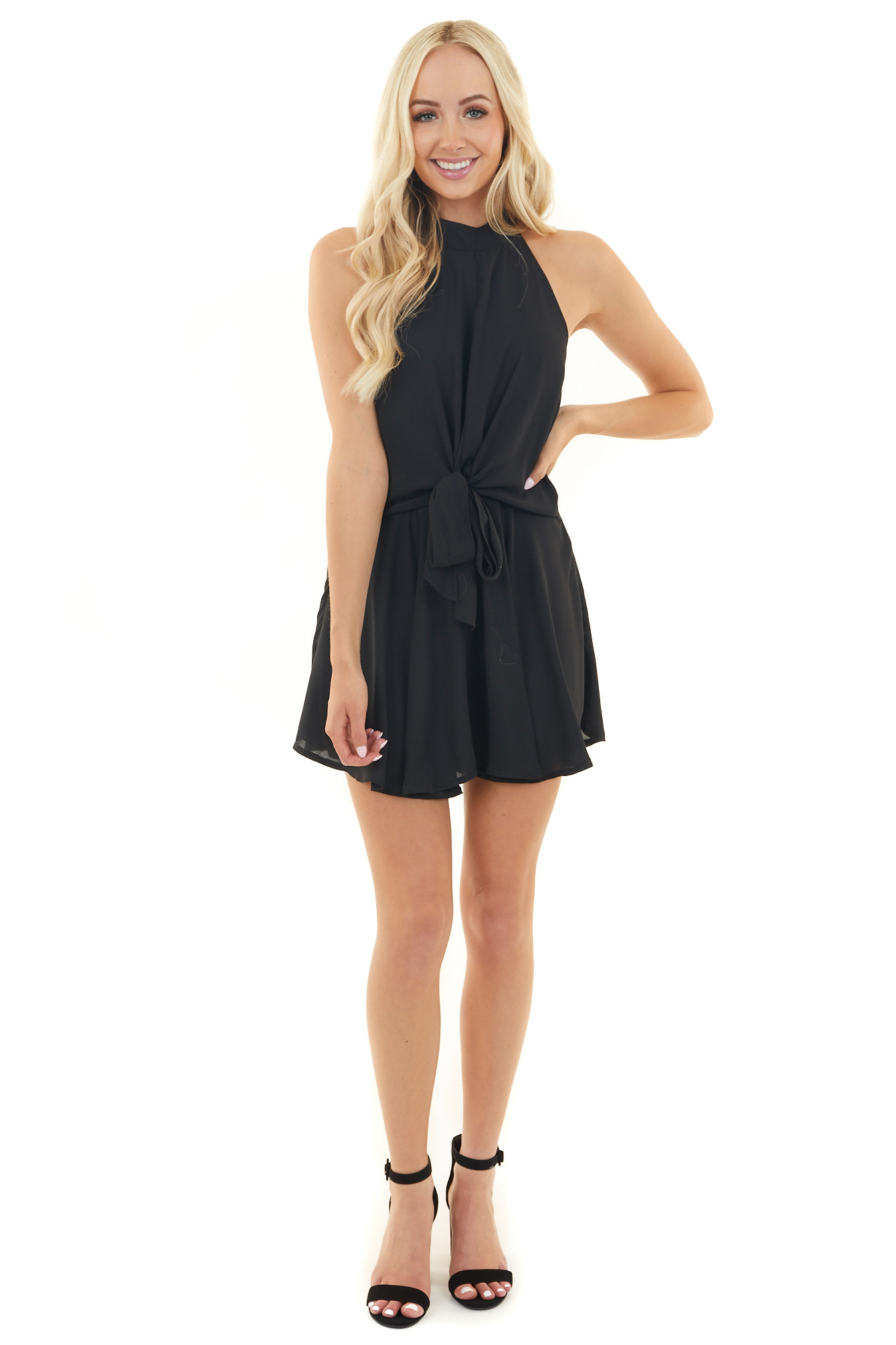 Black Halter Neck Romper with Keyhole and Tie Details