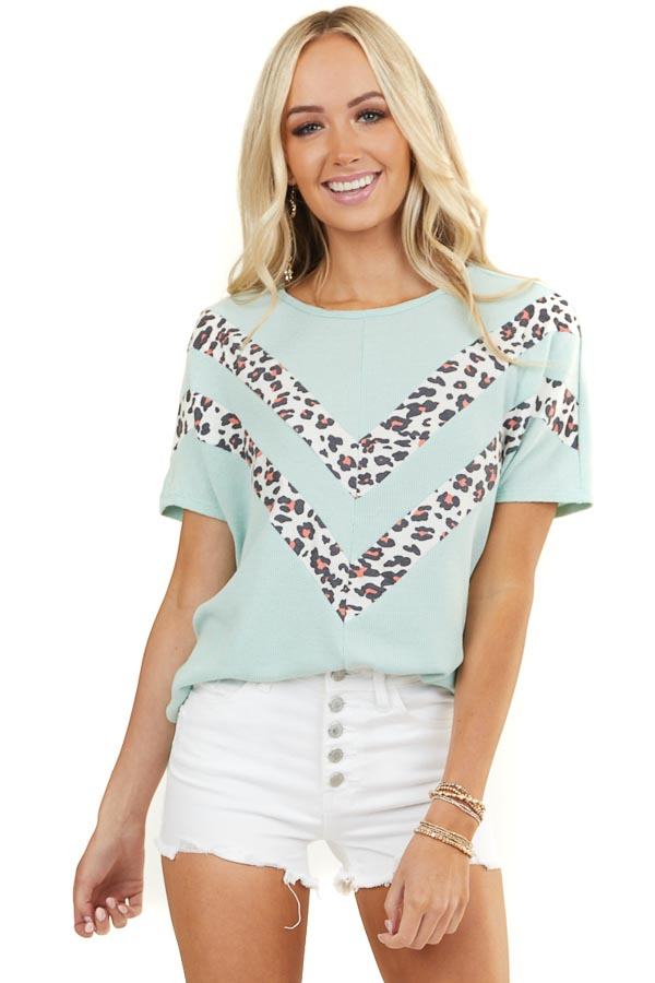 Mint Waffle Knit Top with Chevron Leopard Print Contrast