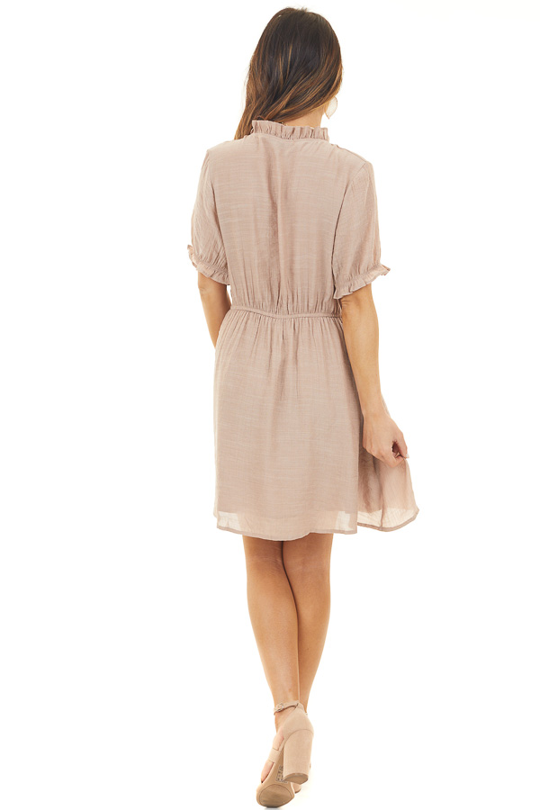 Latte Short Dress with Pockets and Ruffle Details