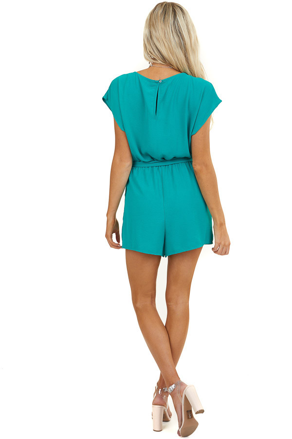Jungle Green Cowl Neck Romper with Waist Tie and Pockets