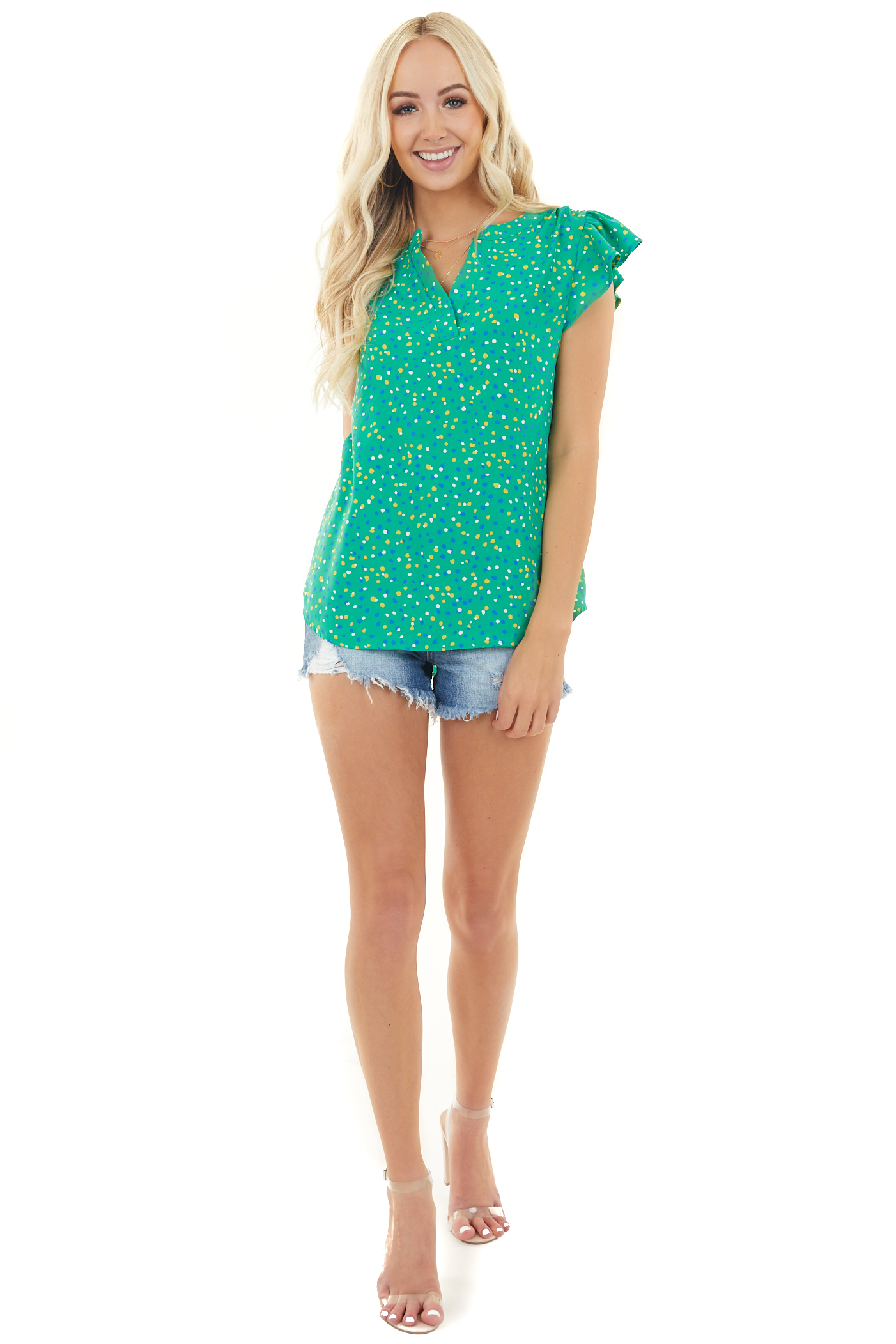 Kelly Green Woven V Neck Top with Multicolor Polka Dots