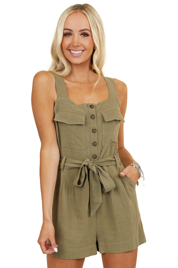 Olive Green Sleeveless Romper with Pockets and Waist Tie