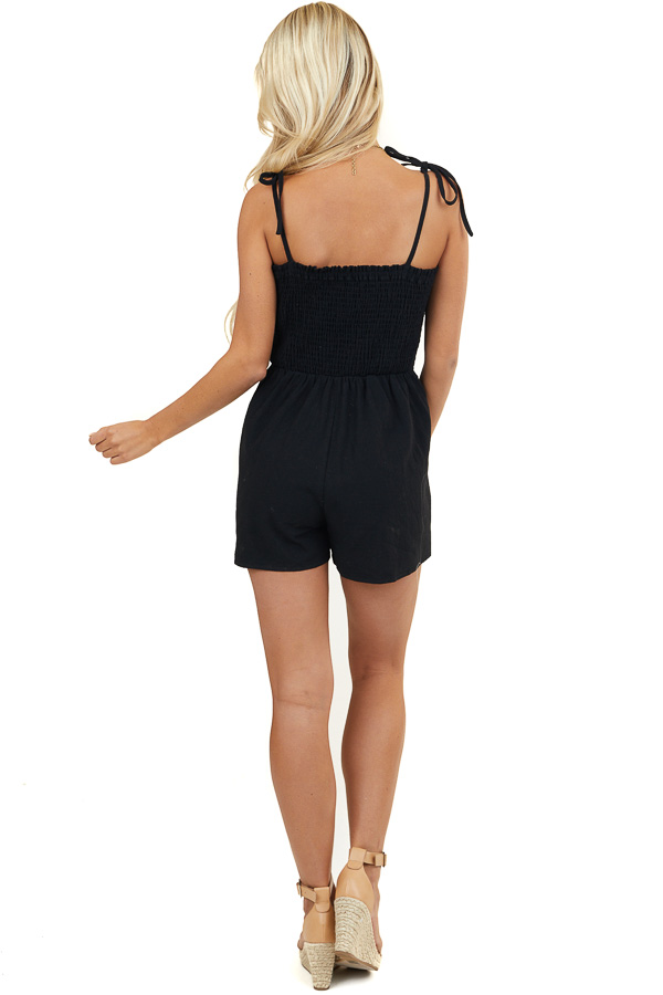 Black Sleeveless Smocked Romper with Pockets