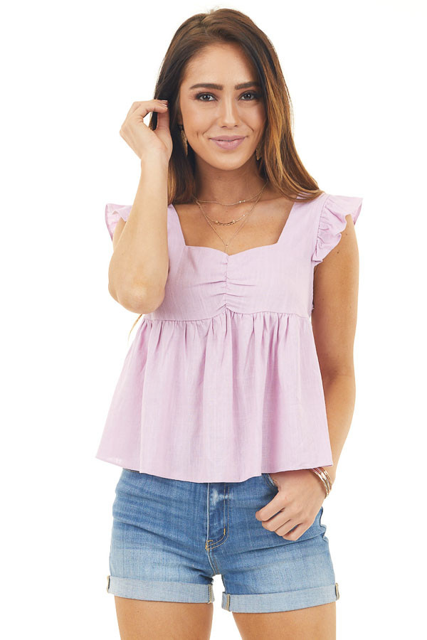 Lilac Short Sleeve Babydoll Crop Top with Lace Up Back Detail