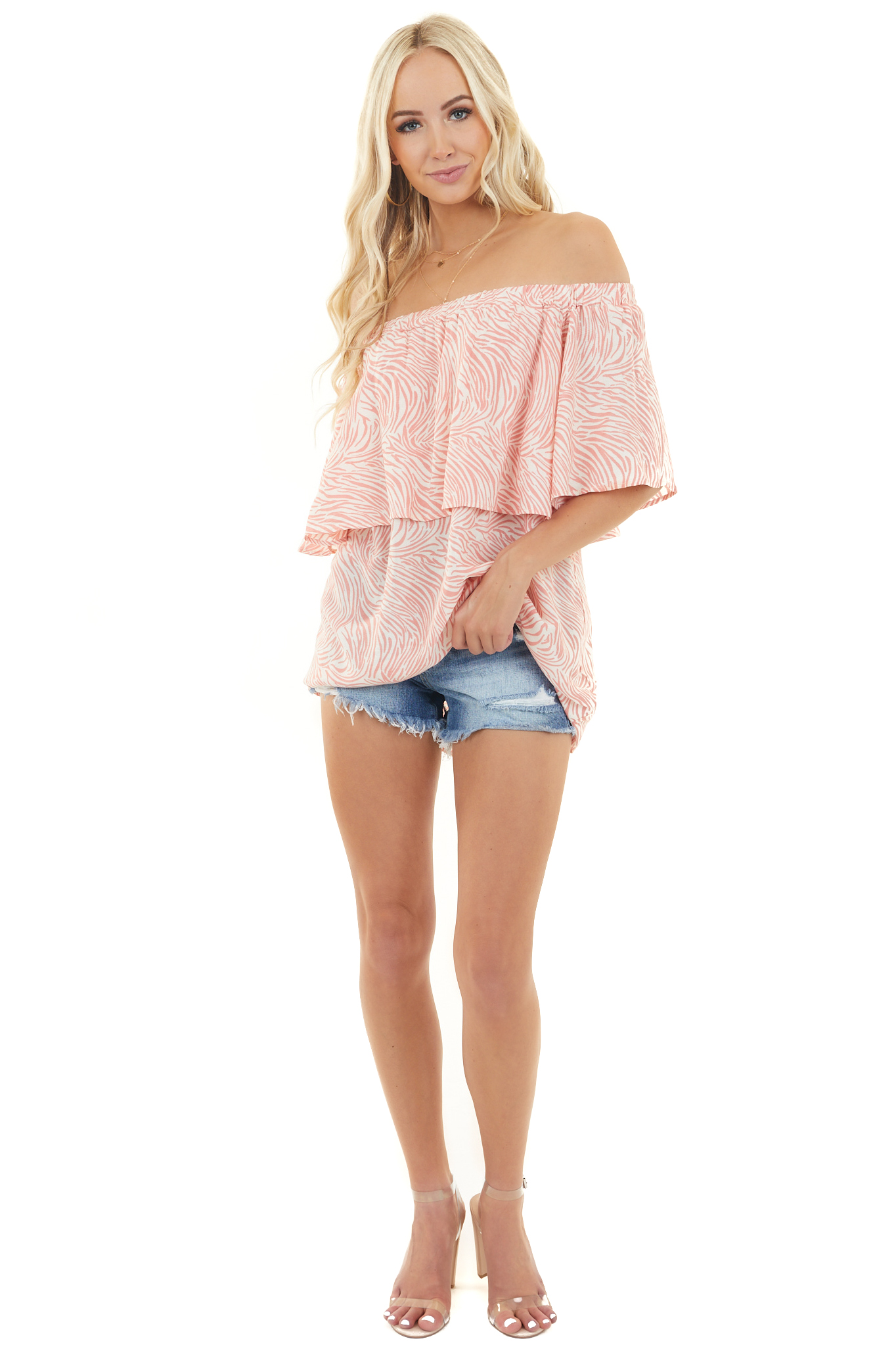 Coral Zebra Print Off Shoulder Woven Top with Bust Overlay