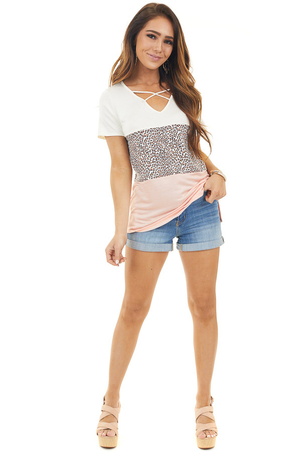 Ivory Color Block Knit Top with Leopard Print Contrast