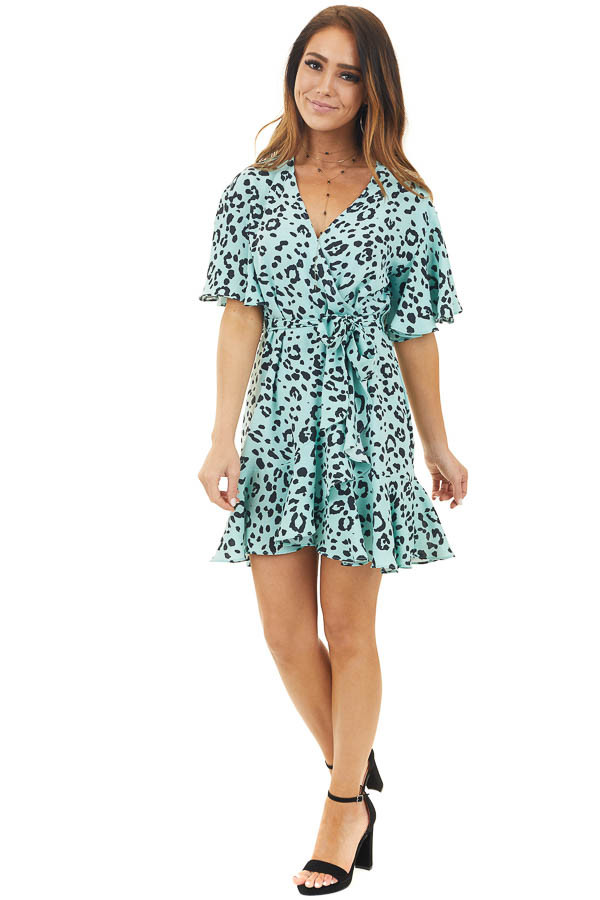 Bright Mint Leopard Print Wrap Dress with Flutter Sleeves