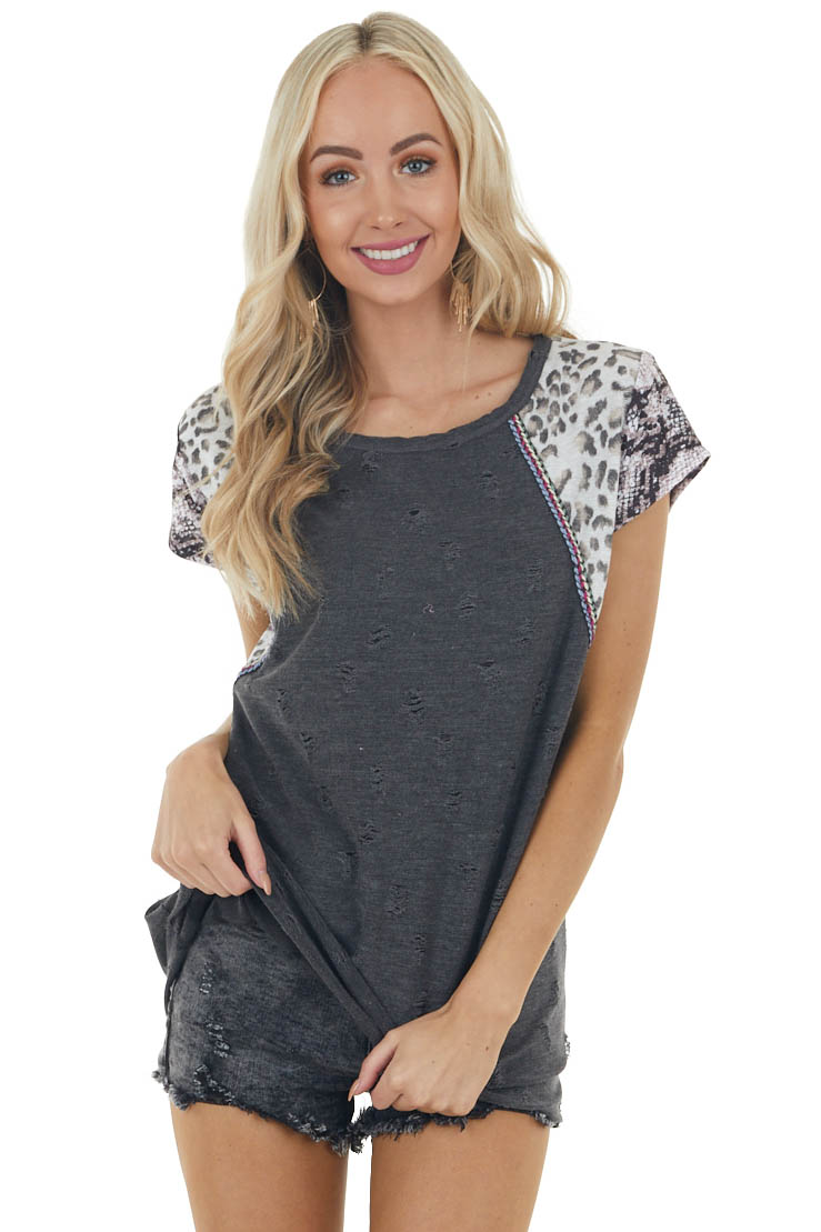 Black Multiprint Block Knit Top with Short Sleeves