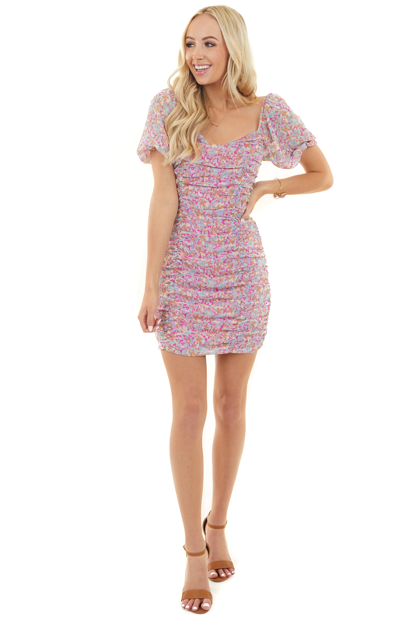 Fuchsia and Lavender Floral Short Sleeve Ruched Dress