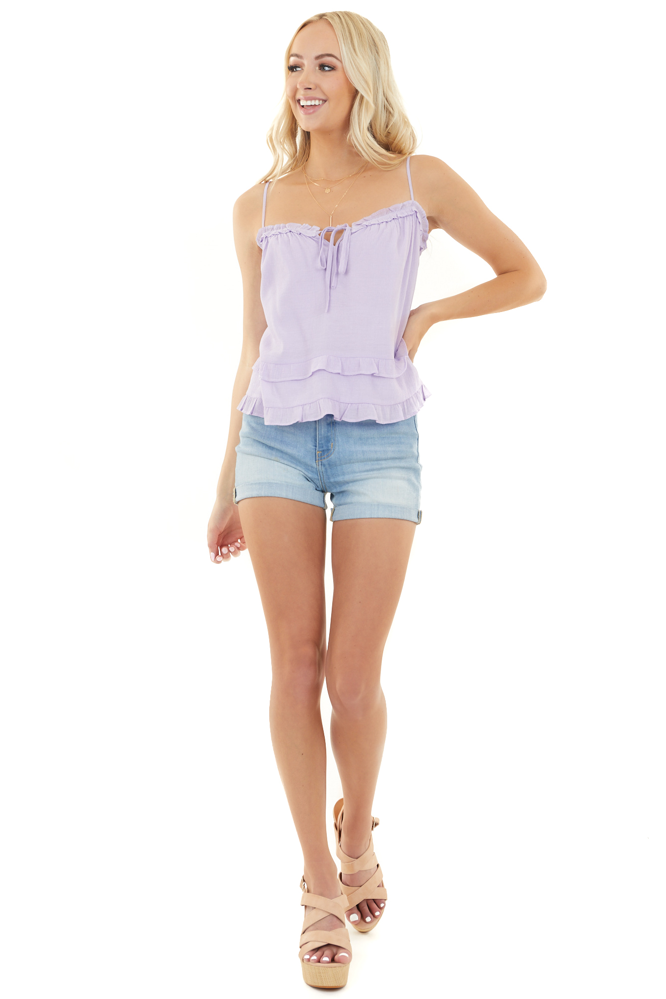 Lilac Sleeveless Woven Top with Bust Tie and Ruffle Details