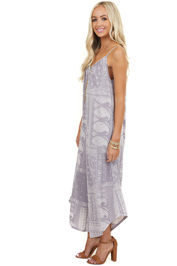 Light Mauve Print Sleeveless Jumpsuit with Wide Leg