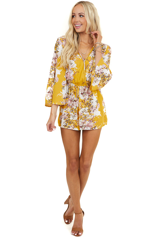 Amber Floral Print Surplice Romper with Pockets and Tie