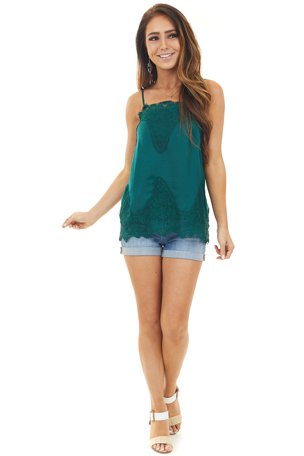 Hunter Green Sleeveless Camisole Tank Top with Lace Trim