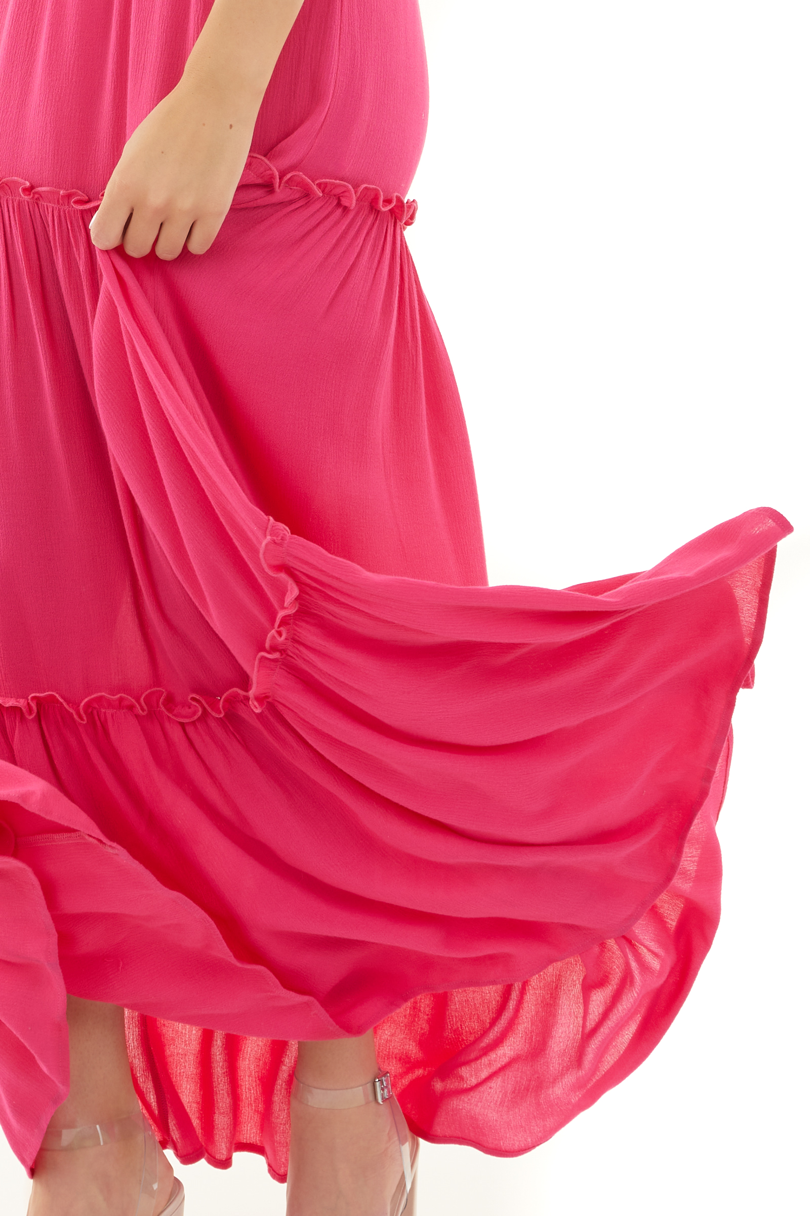 Fuchsia Smocked Tiered Maxi Dress with Adjustable Straps