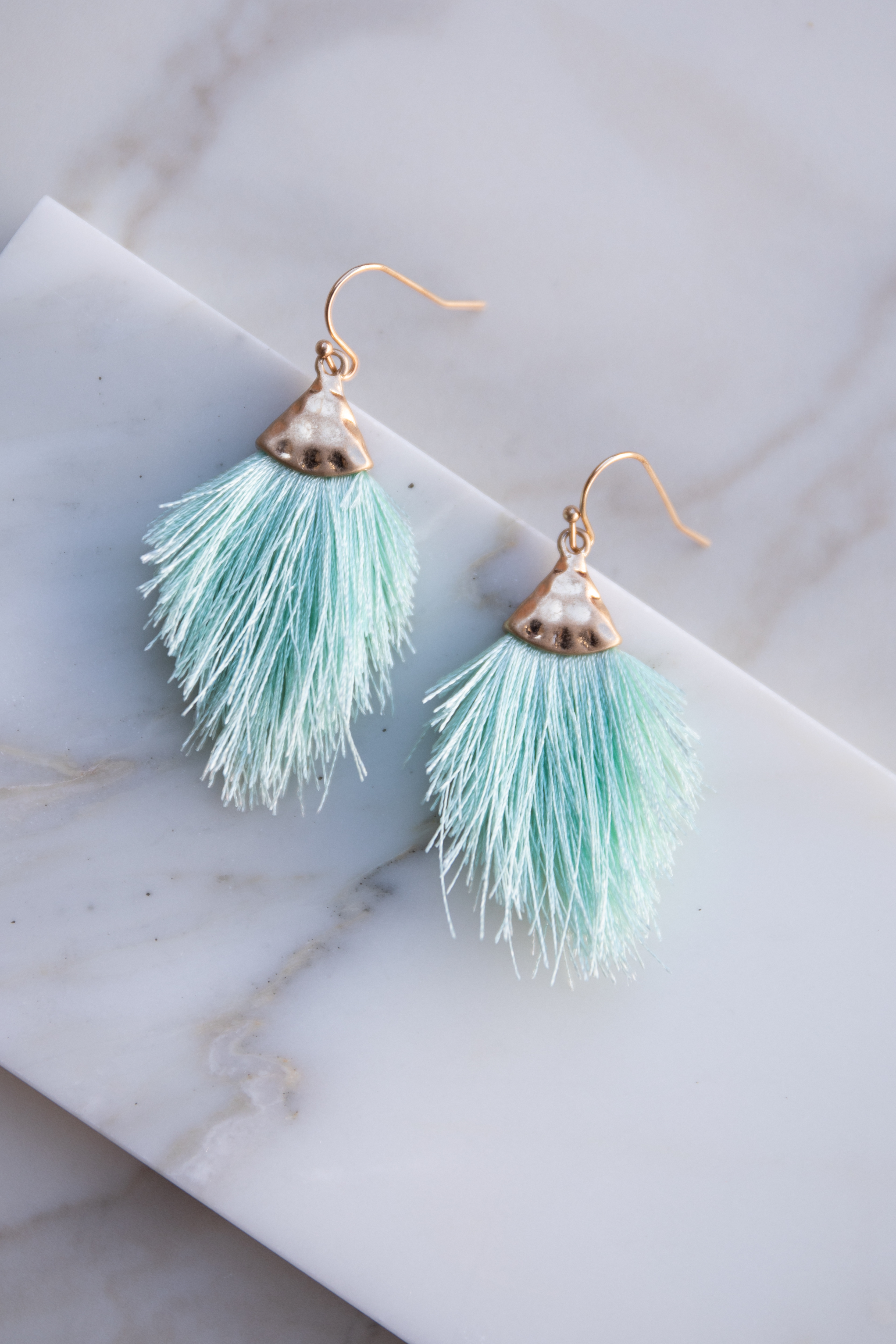 Mint and Gold Hammered Tassel Drop Earrings