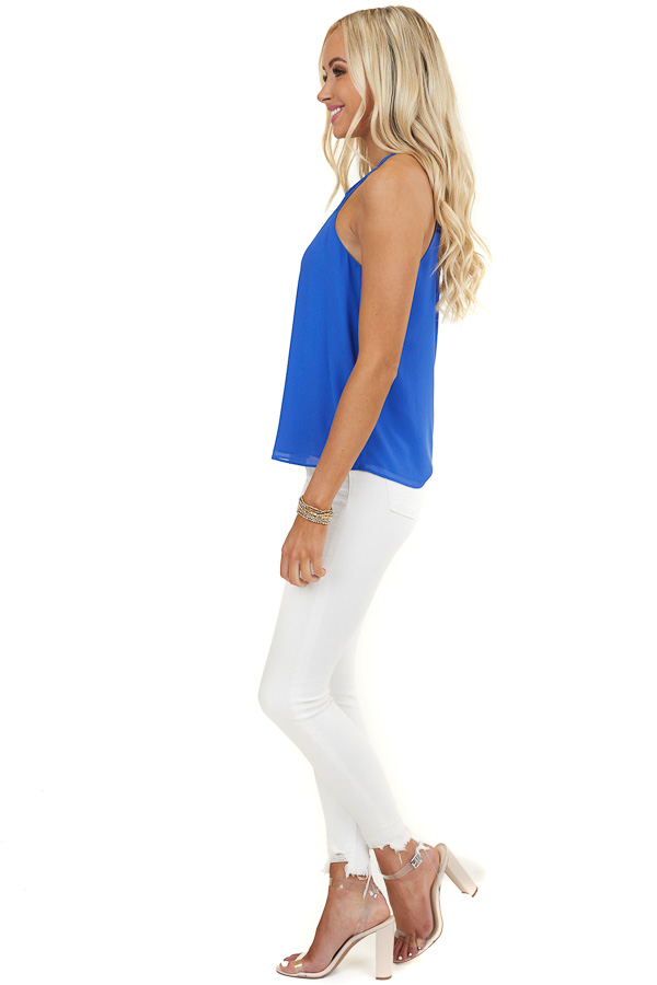 Royal Blue Tank Top with Loop Knotted Neckline