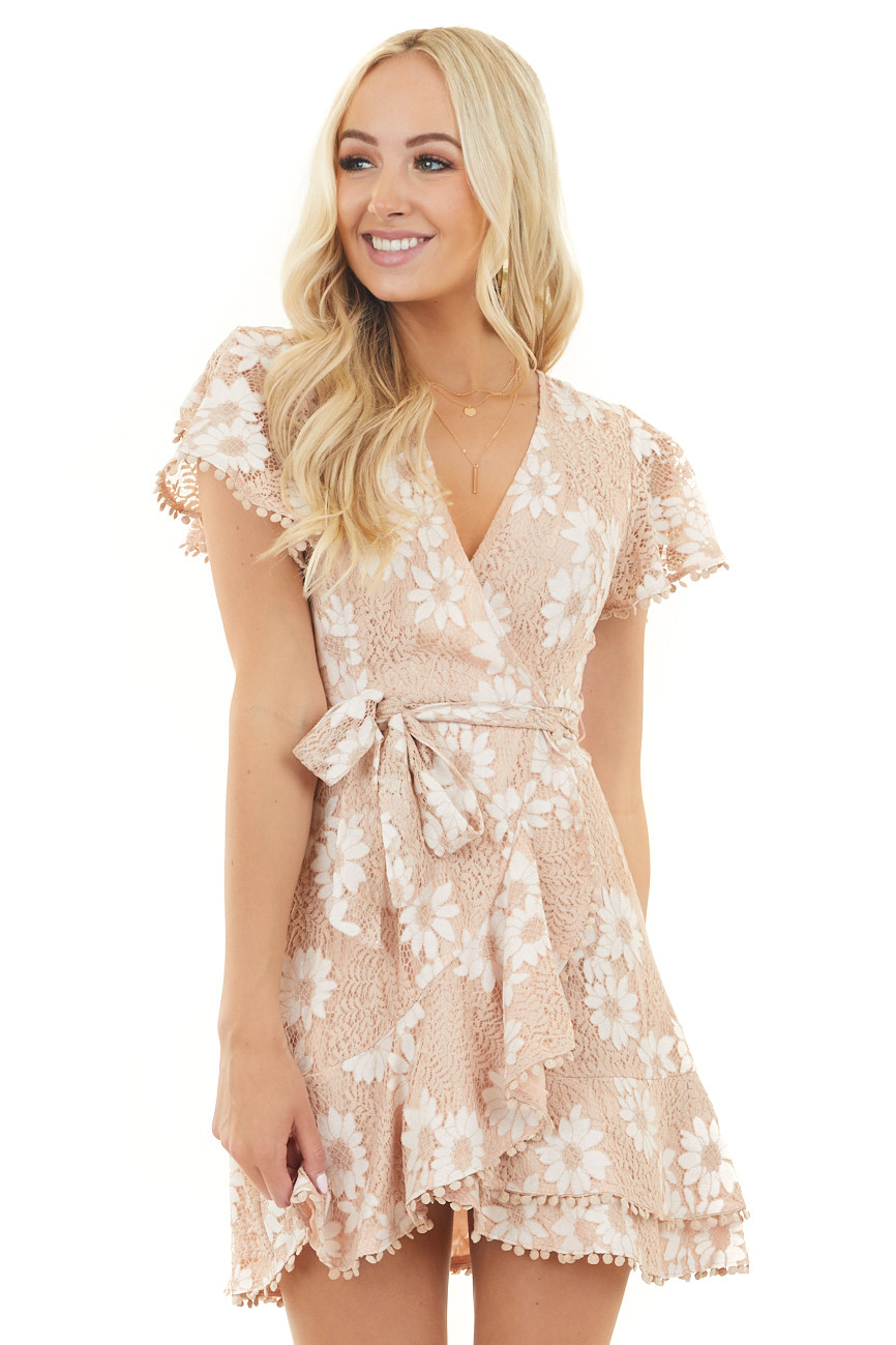 Dusty Peach Floral Lace Surplice Dress with Waist Tie