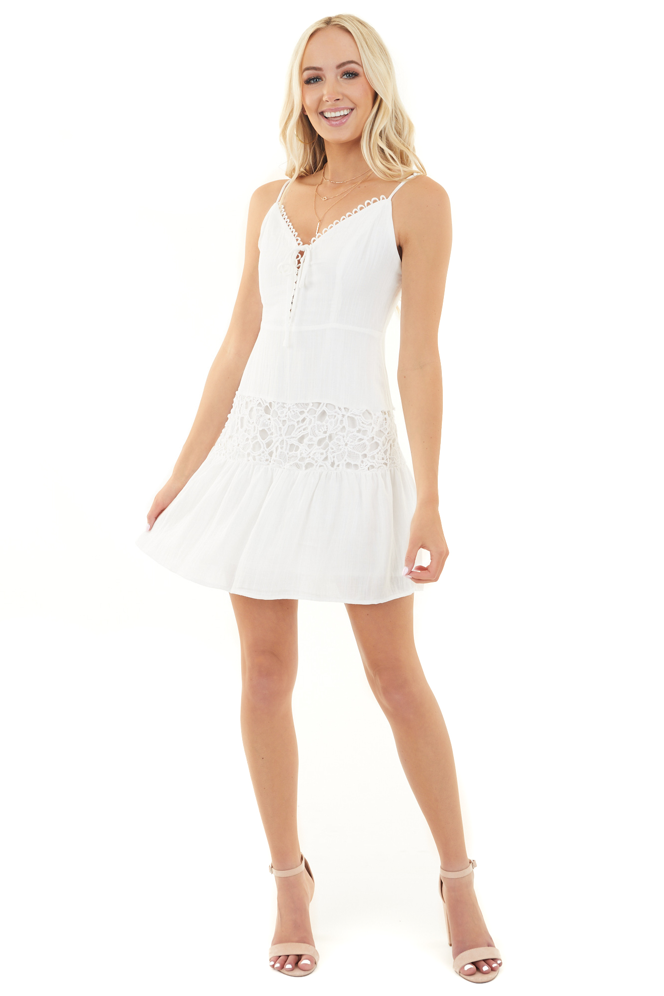 Off White Sleeveless Tiered Dress with Lace Details