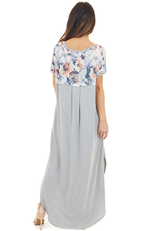 Heather Grey Short Sleeve Maxi Dress with Floral Print Back