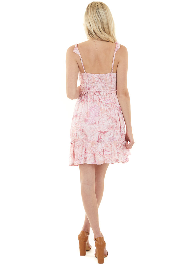 Baby Pink Floral Smocked Sleeveless Dress with Tie Detail
