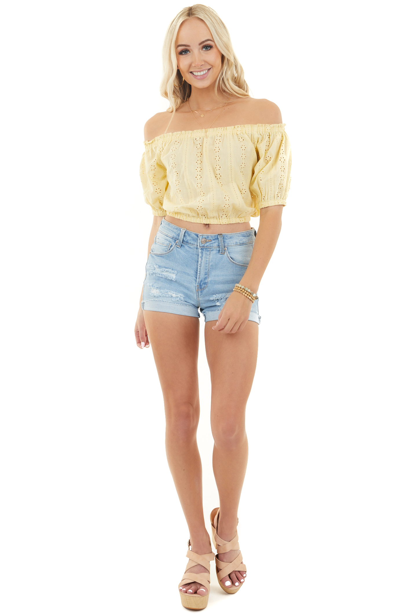 Banana Yellow Off Shoulder Crop Top with Eyelet Lace