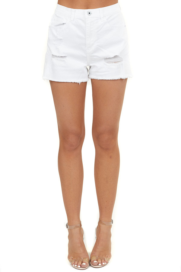 White High Rise Distressed Shorts with Raw Hem and Pockets