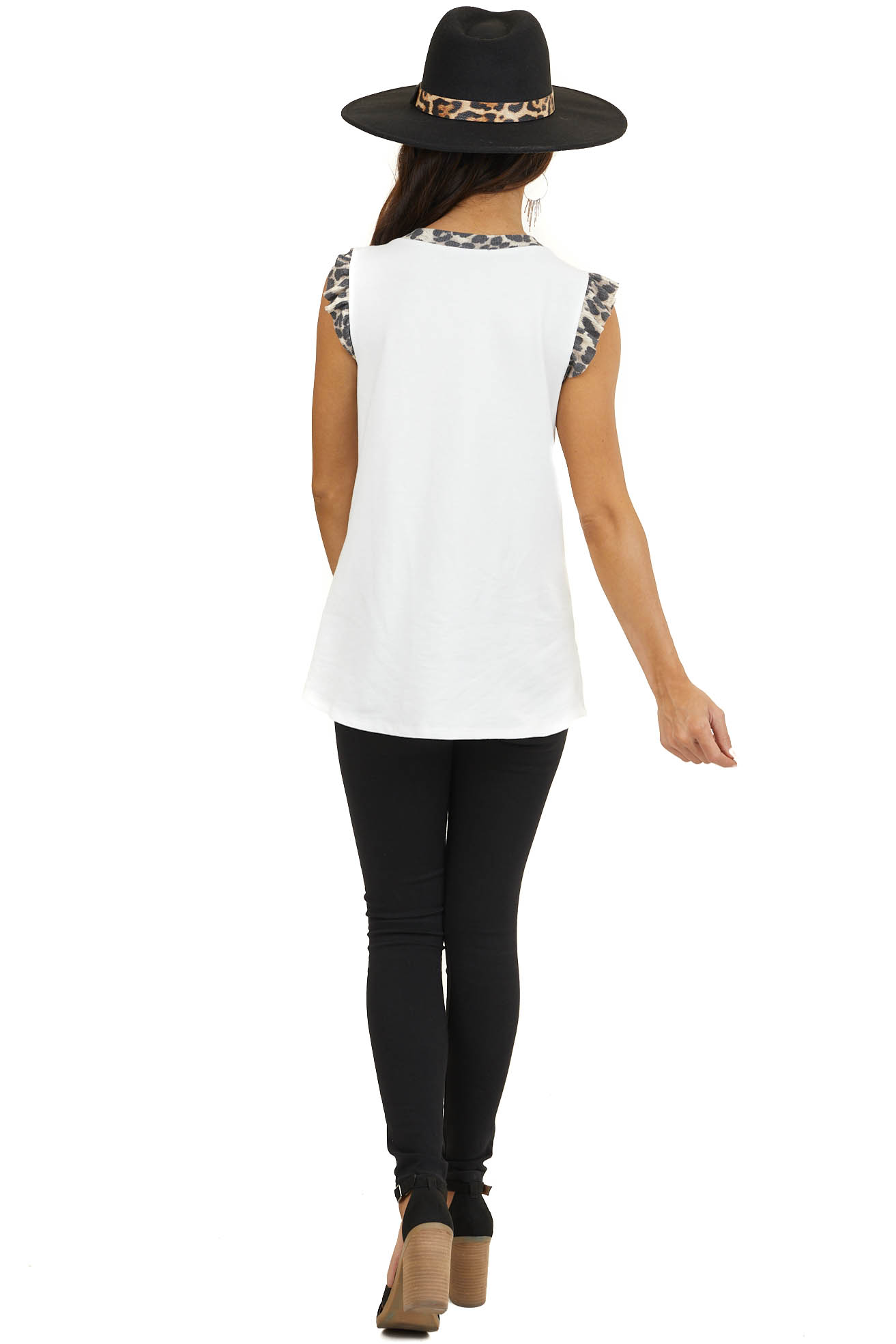 Off White 'Free Spirit' Graphic Tank Top with Leopard Accent