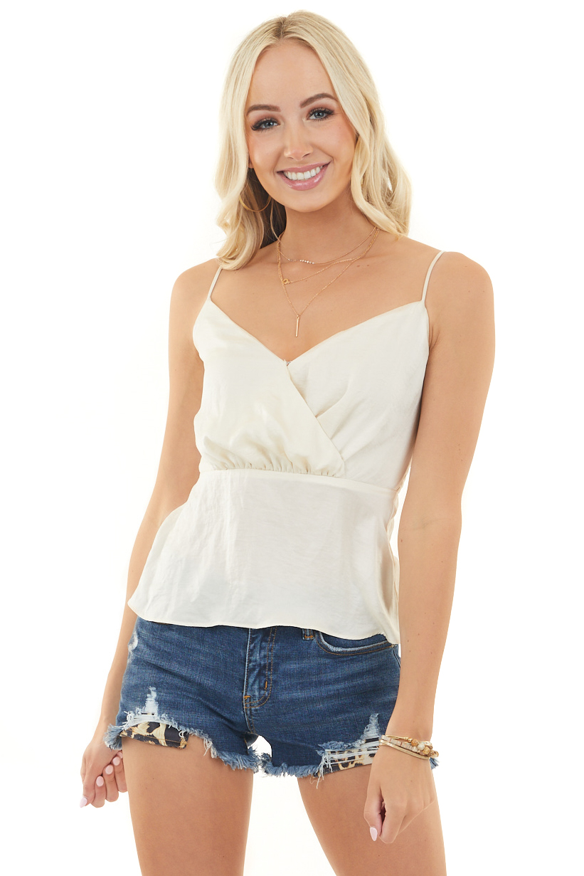 Champagne Surplice Satin Tank Top with Smocked Back