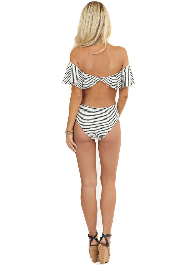Ivory and Black Striped Off Shoulder One Piece Swimsuit