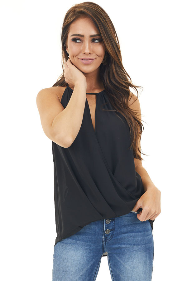 Black Sheer Strapless Surplice Top with Keyhole Back