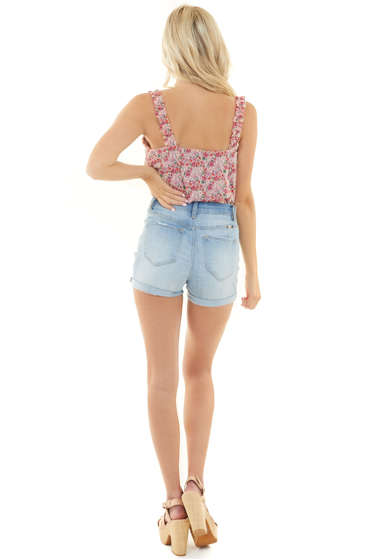 Mauve Floral Sleeveless Bodysuit with Ruffled Straps