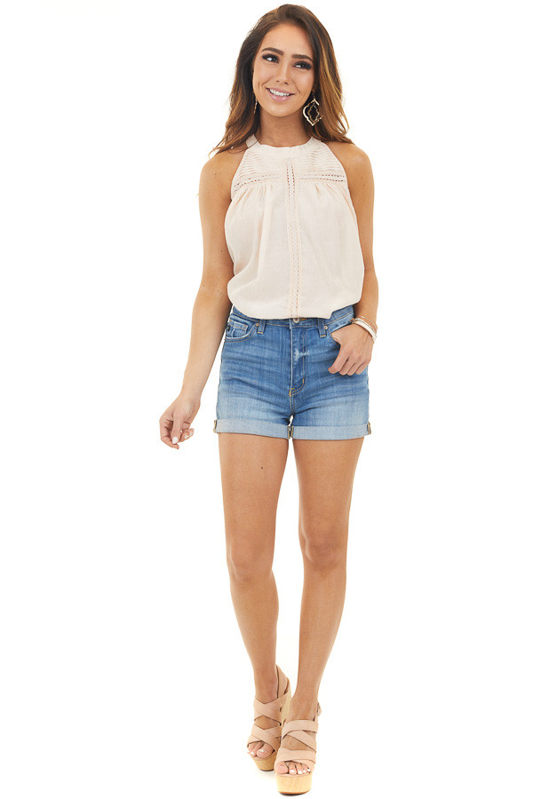 Pale Peach Sleeveless Top with Sheer Woven Yoke Details