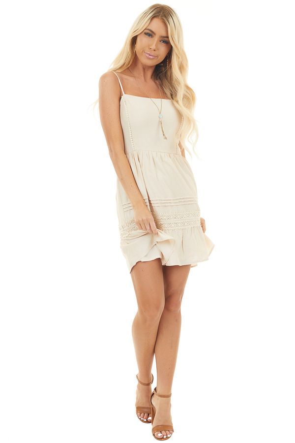 Beige Sleeveless Dress with Crochet Detail and Smocked Back