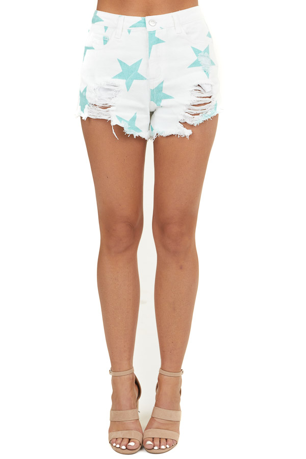 Off White Distressed High Waist Shorts with Aqua Star Print