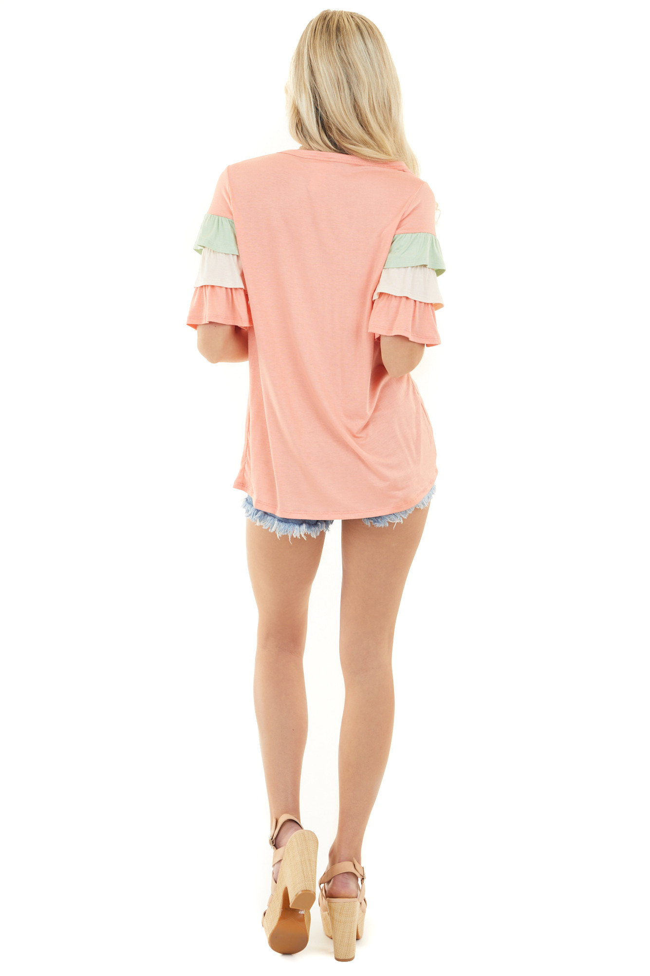 Coral Multicolor Knit Top with Half Length Ruffle Sleeves