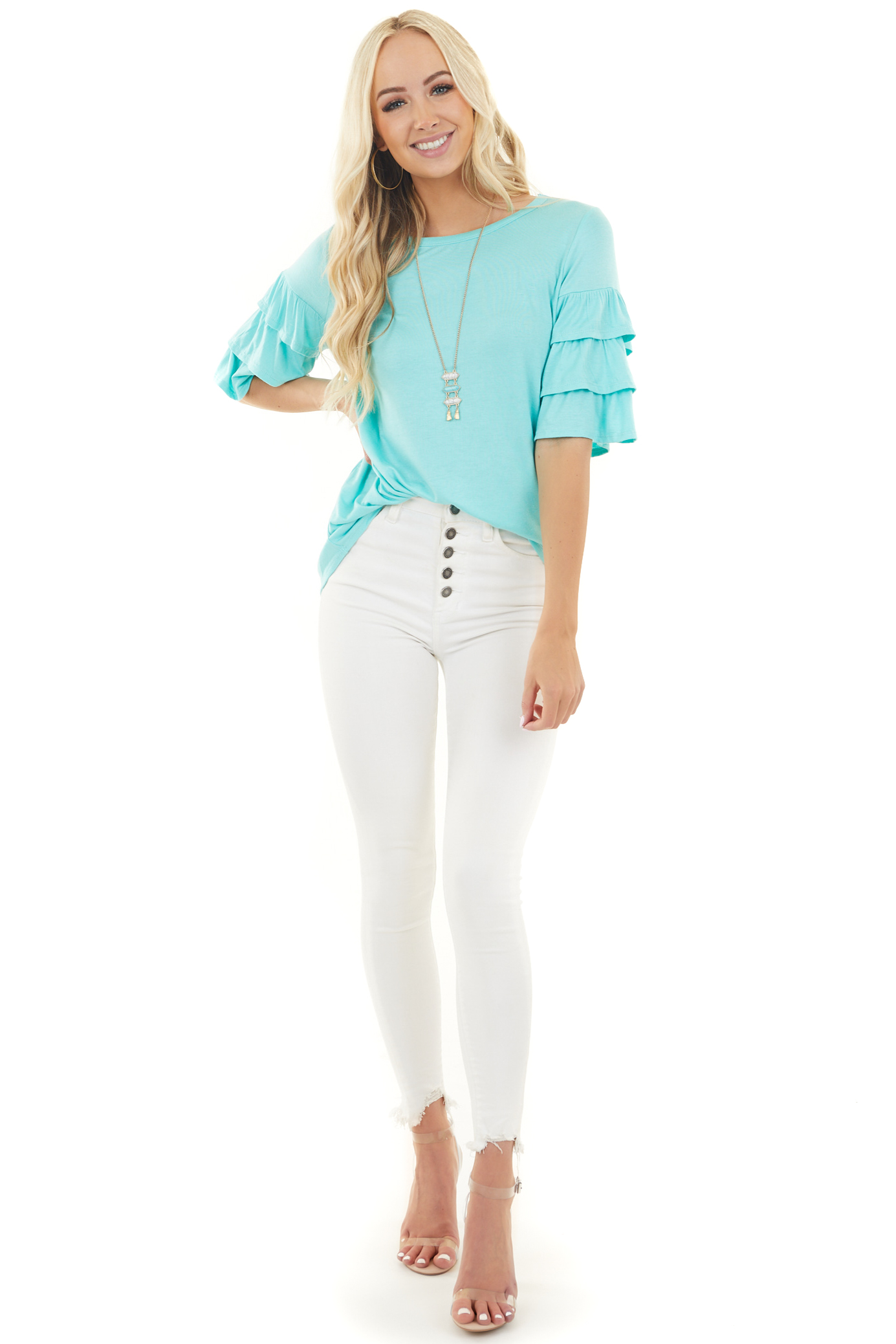 Turquoise Blue Knit Top with Half Length Ruffle Sleeves
