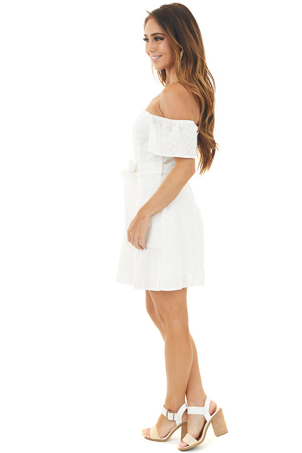 Off White Eyelet Off Shoulder Mini Dress with Waist Tie