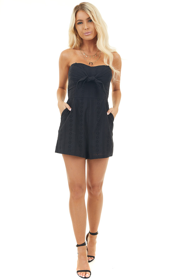 Black Strapless Eyelet Lace Romper with Front Tie Detail