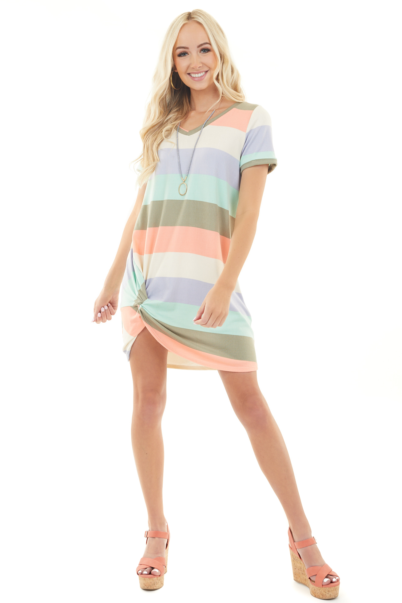 Multicolor Striped Print T Shirt Dress with Twist Detail