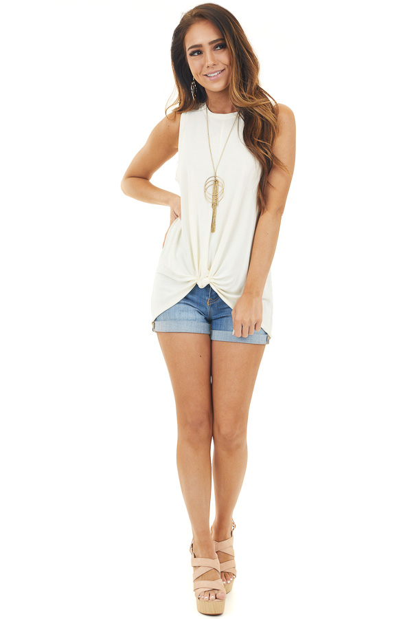 Cream Soft Knit Sleeveless Top with Front Knot Detail