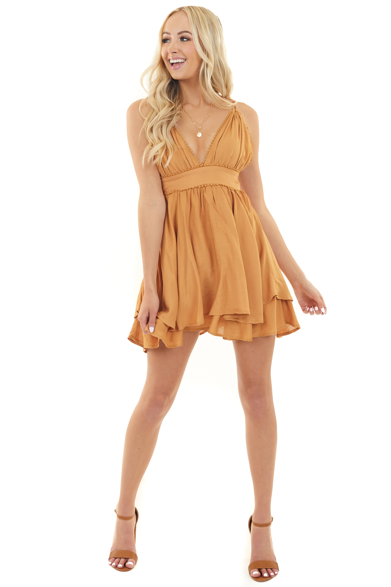 Caramel Double Strap Halter Neck Mini Dress with Bubble Lace