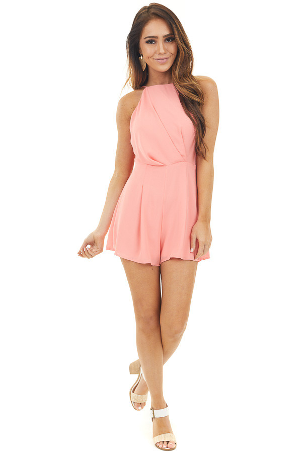 Coral Sleeveless Short Romper with Back Cutout and Tie