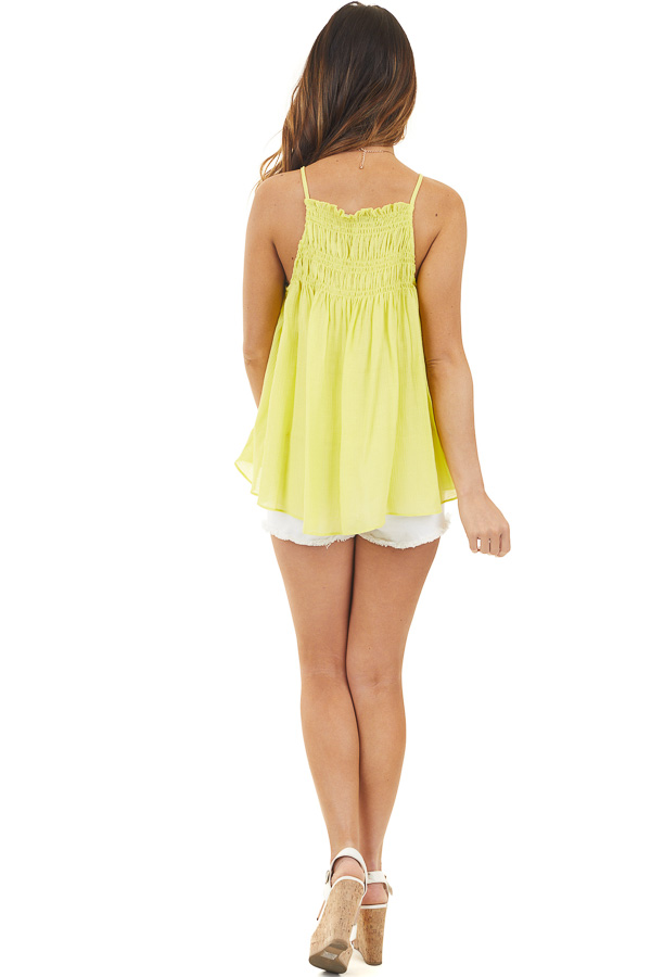 Bright Yellow Woven Tank Top with Smocked Detail