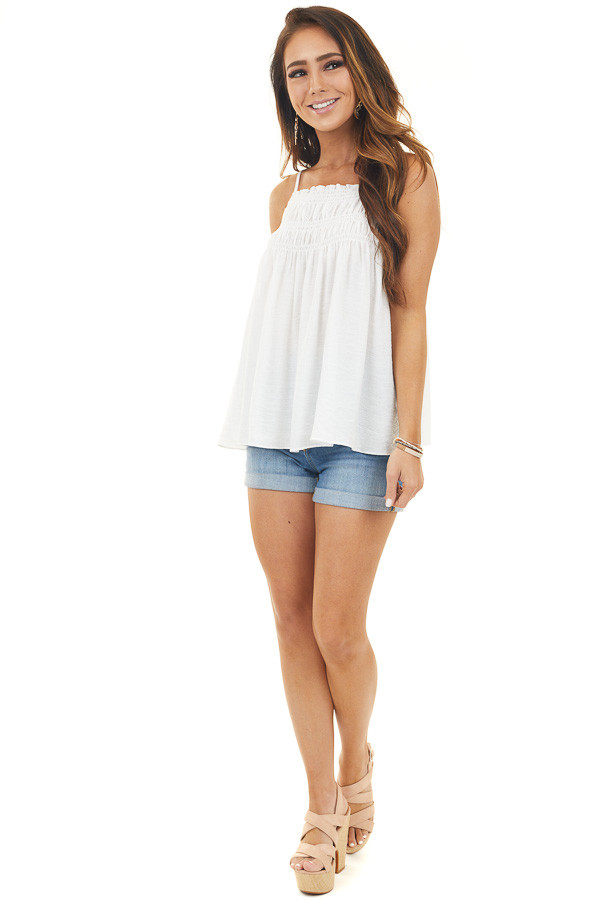 Off White Woven Tank Top with Smocked Detail