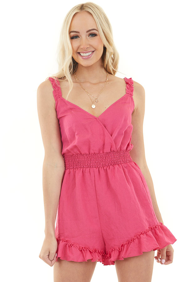 Fuchsia Sleeveless Surplice Romper with Smocked Waistline