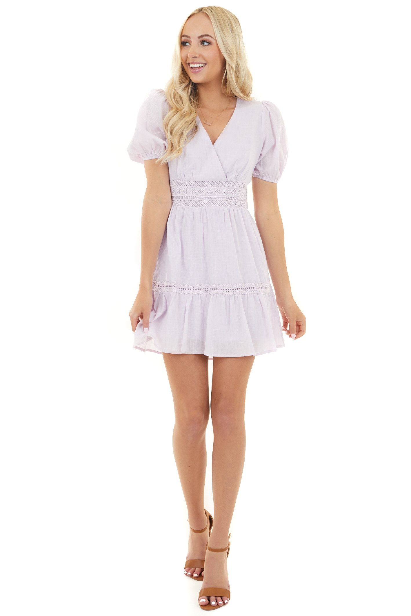 Pale Lilac Short Puff Sleeve Mini Dress with Crochet Details