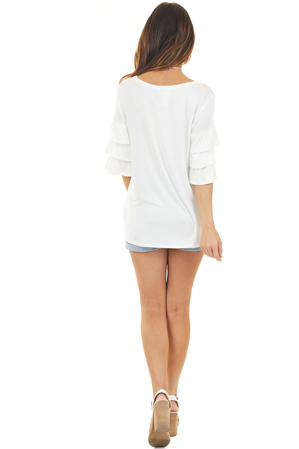Off White Knit Top with Half Length Ruffle Sleeves